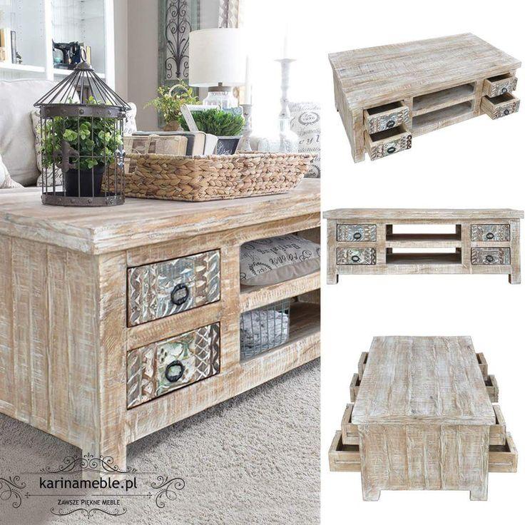 Stolik 4 ma szufladkami z drewno z recykling. Jeśli lubicie vintage'owe klimaty to z pewnością spodoba się Wam stolik YASMIN z szufladami i półkami. Rzeźbione i bielone drewno oraz postarzana powierzchnia sprawiają że ten stolik to prawdziwa gwiazda aranżacji.