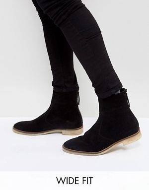 89654e258d9 ASOS DESIGN Wide Fit Chelsea Boots In Black Suede With Natural Sole ...