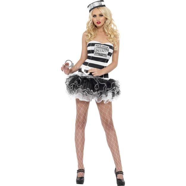 Fever Convict Cutie Costume, With Tutu Dress and Hat