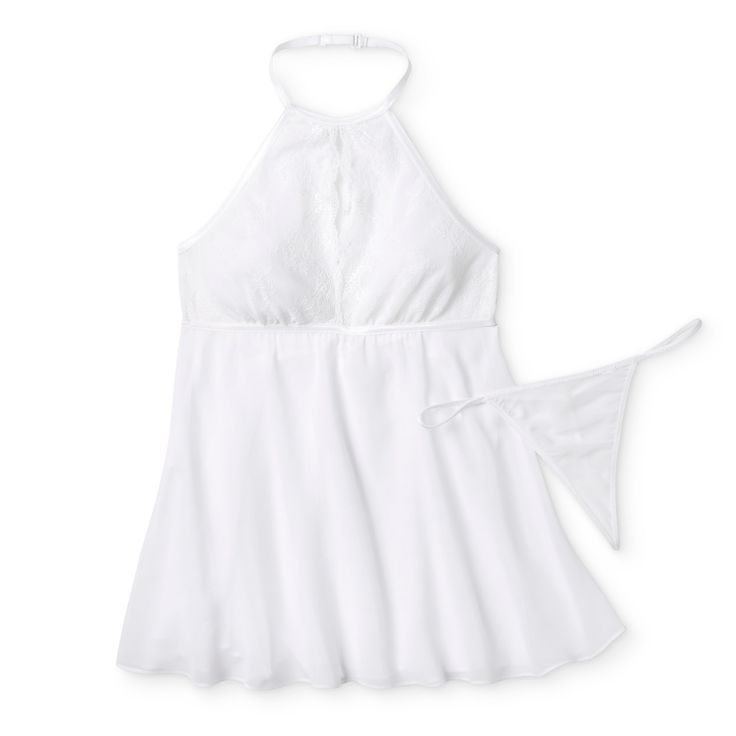 Women's High Neck Babydoll Lingerie - White XL