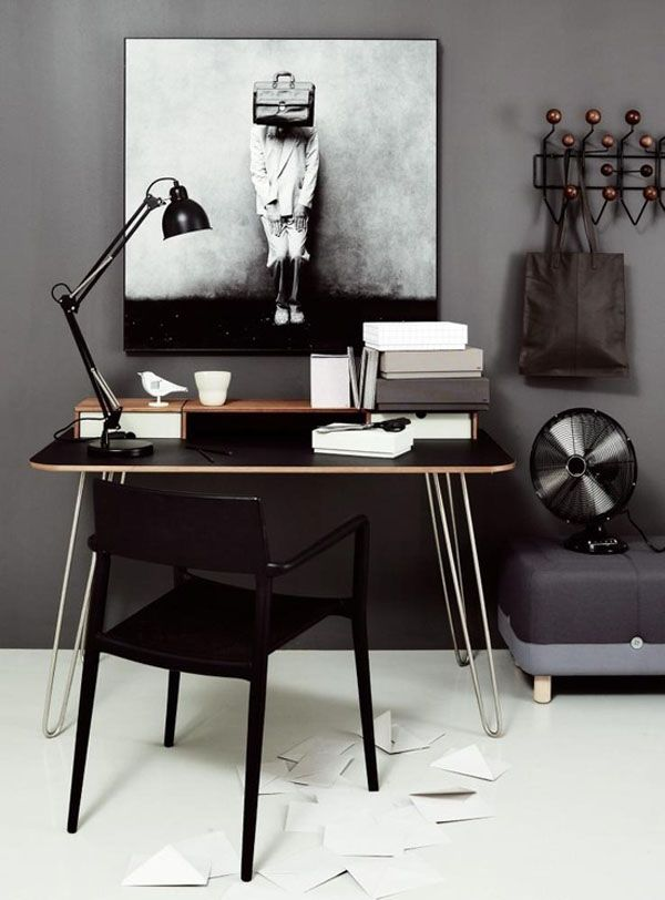 Home Office, similar to benjamin Moore Galveston gray in the office. Great color.  #Office #Workplace #Creative