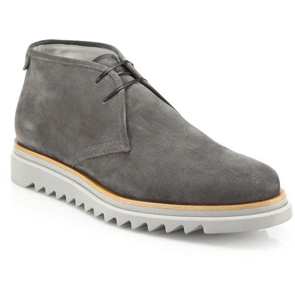 Salvatore Ferragamo Lagos Suede Chukka Boots (259765 IQD) ❤ liked on Polyvore featuring men's fashion, men's shoes, men's boots, apparel & accessories, elefante, mens chukka shoes, mens shoes chukka boots, mens chukka boots, mens suede lace up boots and mens suede chukka boots