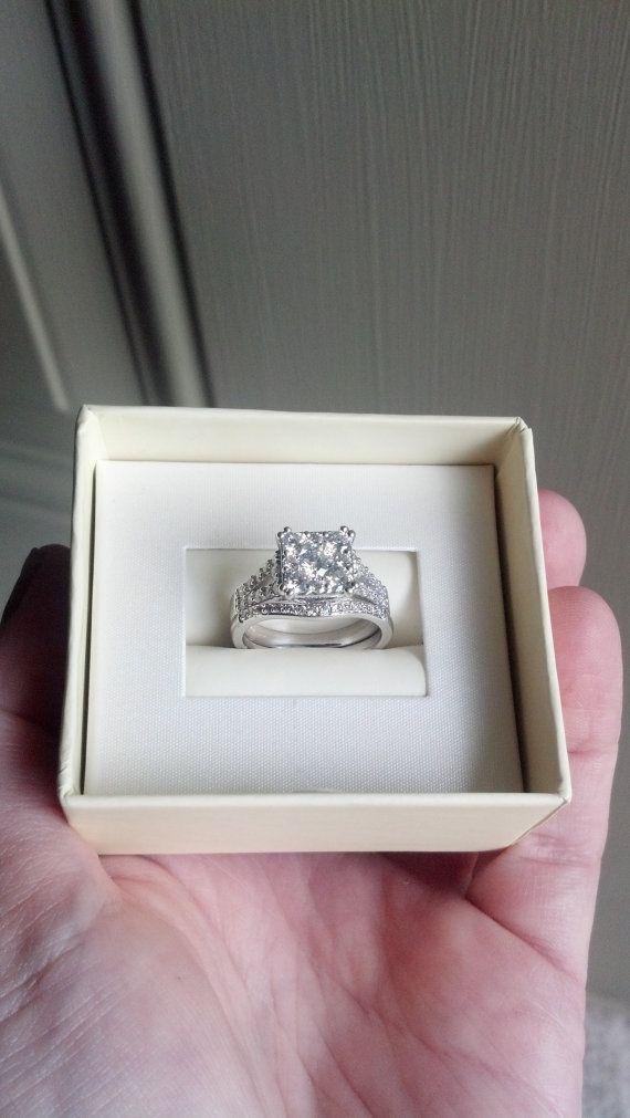 14k white gold diamond wedding ring set 115 by TheLeftHandedHooker, $2800.00