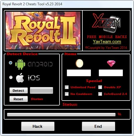 Royal Revolt 2 Cheats Tool v5.23 2014 for Android/iOS. Working without problems. Download here! The Best Cheats only from YavTeam. http://www.yavteam.com/royal-revolt-2-cheats-tool-v5-23-2014/