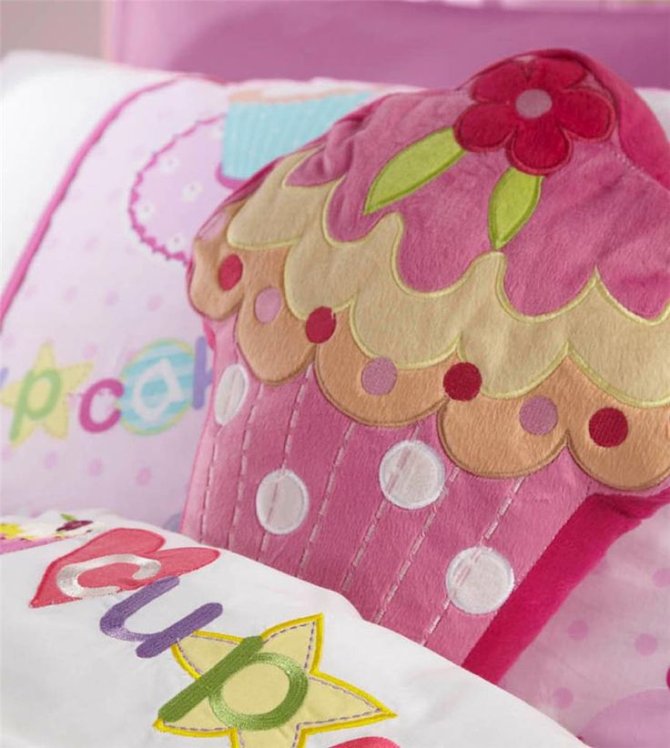 cupcake bedding | GIRLS PINK CUPCAKE BEDDING RANGE - COT BED/SINGLE DUVET COVER*CURTAINS ...