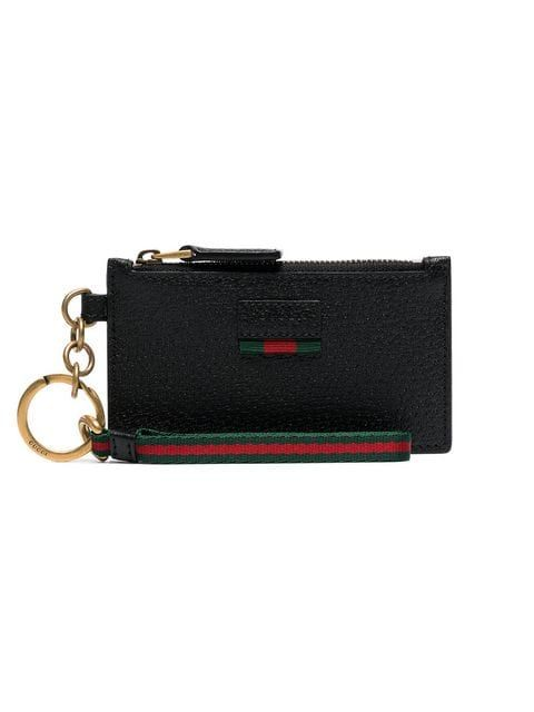 5cf1a7d7c4 GUCCI | Black Logo Embossed Card Holder - Black | $525 | Made from ...