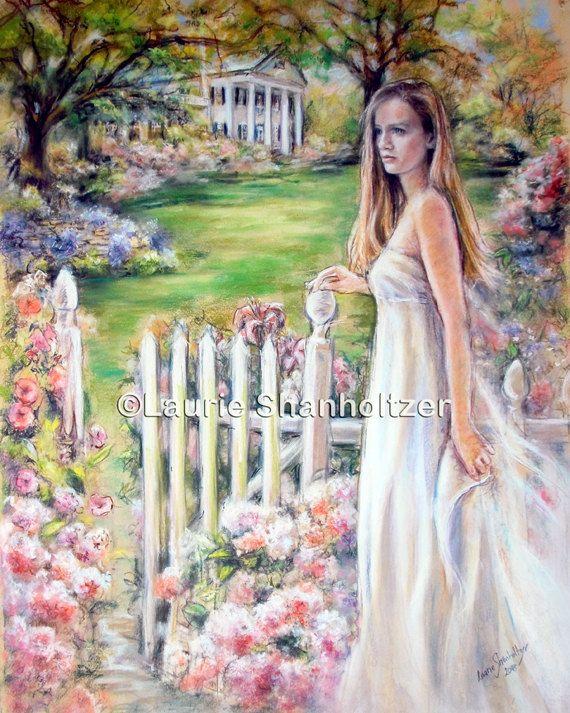 """Donna, signora, romantici, bianco vestito, ritratto, del sud, giardino, tela o cotone carta stampa artistica, Laurie Shanholtzer, """"Gentle giorni meridionale"""""""