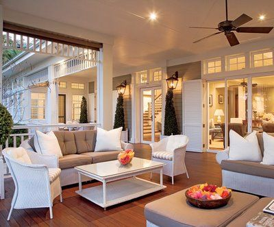 Outdoor room/ deck... love the doors, fan and openness...