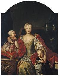 Portrait of Polyxena Christina of Hesse-Rotenburg (1706-1735) with her two oldest children, the future Victor Amadeus III (1726-1796) and Eleonora (1728-1781) By Martin van Meytens, c. 1729