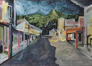 Taihape (1991) by New Zealand expatriate painter Douglas MacDiarmid (acrylic landscape). Taihape is Douglas MacDiarmid's hometown, the town he was born. This artwork was painted from sketches made during his 1990 trip to New Zealand for the sesquicentennial celebrations. The scene is a very personal one for the artist; it was his first visit there in 40 years and has a sense of arrival...