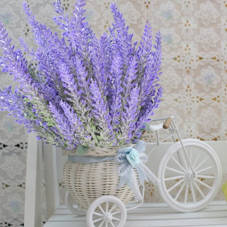 Artificial lavender in straw bicycle - vintage country cottage shabby chic quaint artificial flower arrangement