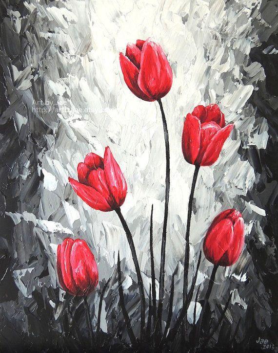 Red tulip painting home decor 16×20 flowers original by artbyjae