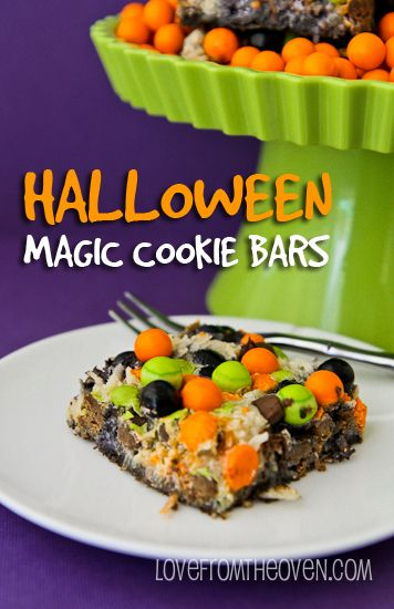Halloween Magic Cookie Bars - not exactly this recipe but I like