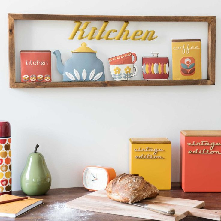 KITCHEN VINTAGE jars wooden artwork ...