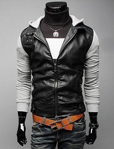 Punk Style Zip Hoodie Jacket for Men Fashion