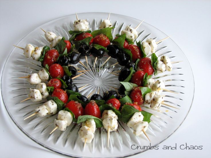 Mozz-Tomato-Olive Skewers - Crumbs and Chaos