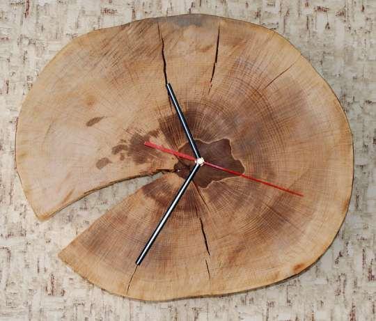 Drewniany zegar ścienny, Zegar z plastra drewna bukowego Osiek - image 2