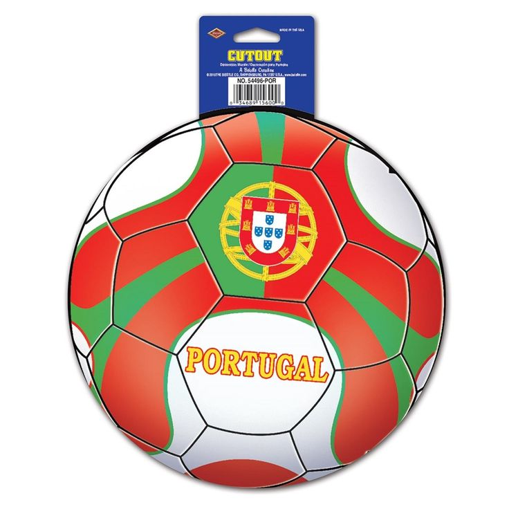 """Club Pack of 12 Red, Green and White Portugal"""" Soccer Themed Cutout Decorations 10"""""""