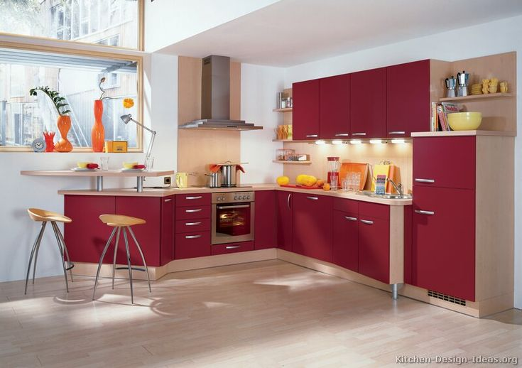 Kitchen idea of the day check out these modern red for Alno kitchen cabinets