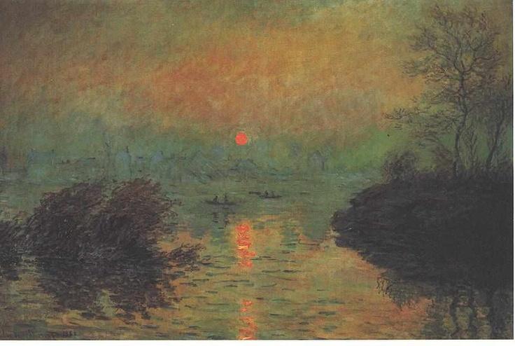 Monet - Sonnenuntergang über der Seine bei Lavacourt  Sunset over the Seine at Lavacourt