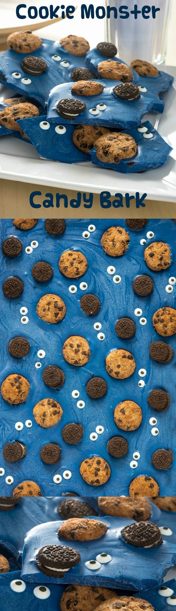Are you a fan of Cookie Monster? Make this delicious candy bark loaded with chocolate chip cookies and Oreos. SO easy and fun for parties!