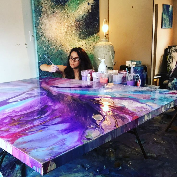 Tara bach acrylic abstract artist on instagram for Acrylic mural painting techniques