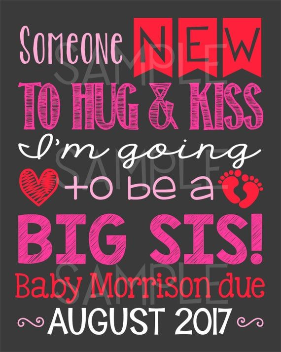 I/'m Going To Be a Big Sister Pregnancy Announcement Big Sister Pregnancy Reveal Due February Baby Announcement Photo Prop Printable Digital