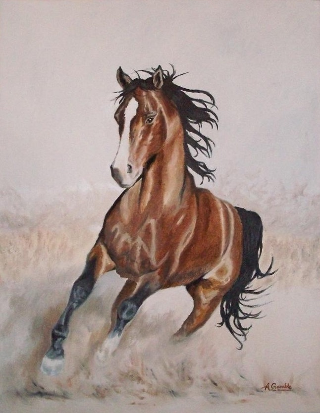 Galloping horse , original oil painting on canvas 18x14 ...