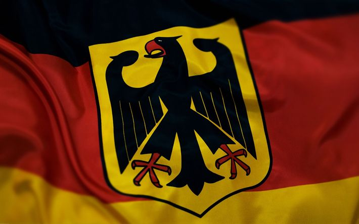 Download wallpapers Flag of Germany, German coat of arms, Europe, Germany, world flags, German flag