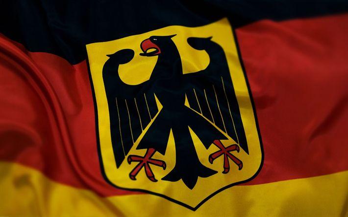 Herunterladen hintergrundbild flagge von deutschland deutsche wappen, europa, deutschland, flaggen der welt, deutsche flagge