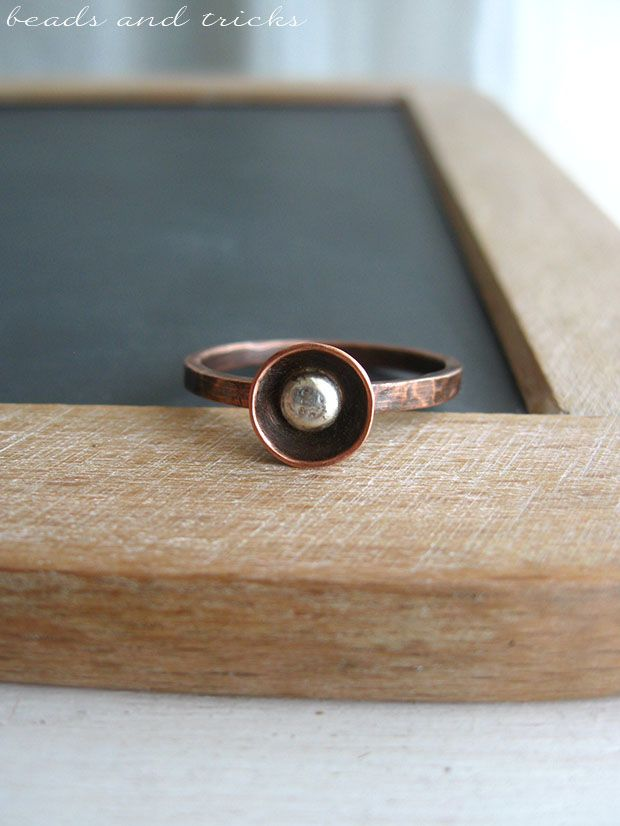 Little copper and silver ring | Handmade by Beads and Tricks