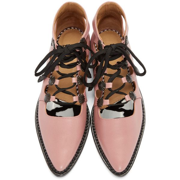 Toga Pulla Pink Open Lace Oxfords (€300) ❤ liked on Polyvore featuring shoes, oxfords, lace cutout oxford, cut-out oxfords, lace oxford shoes, lace oxfords and lace up oxfords
