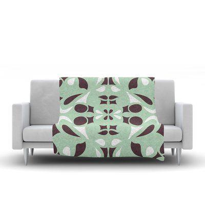 "KESS InHouse Swirling Teal Throw Blanket Size: 80"" L x 60"" W"