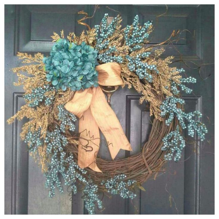 spring wreath, turquoise hydrangea wreath with matching berries and cream heather, housewarming, wedding, gift, mothers day, door wreath by AutumnWrenDesigns on Etsy https://www.etsy.com/listing/199456333/spring-wreath-turquoise-hydrangea-wreath