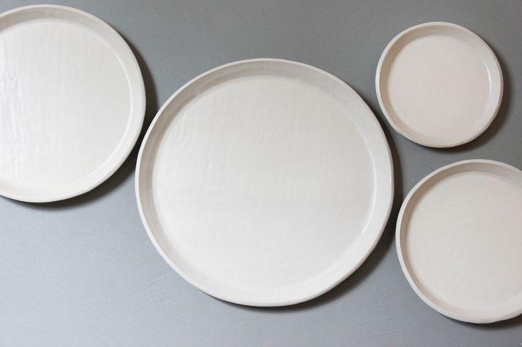 Slab plates, Satin White