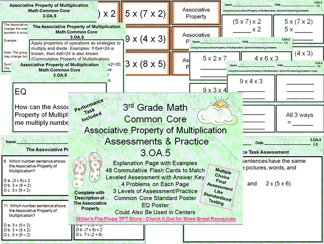 Properties of Multiplication Bundle Packet - 3.OA.5, Associative Property of Multiplication, Commutative Property of Multiplication, Distributive Property of Multiplication, Common Core Math Practice & Assessments. Discount when you buy the bundle pack, but they are available separately, also.
