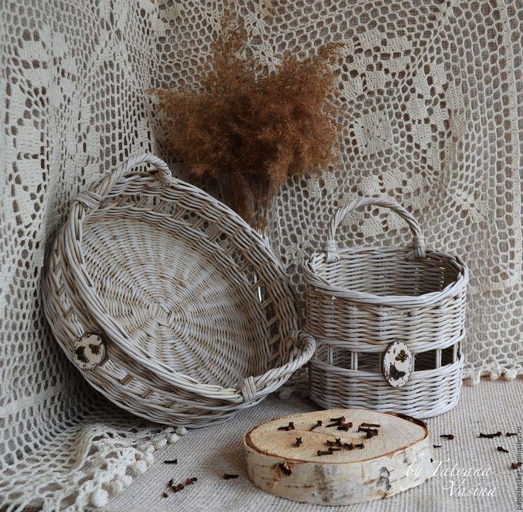 "Купить Плетеный поднос и корзиночка ""Butterfly"" - бежевый, плетеный, плетеный поднос, Плетеная корзинка"