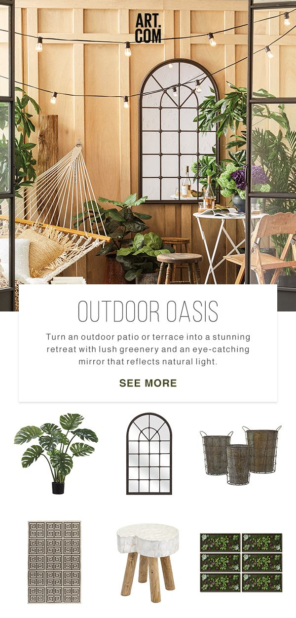 Create your own getaway by turning a deck or other outdoor space into an oasis. A mirror to reflect natural light, furniture made from organic materials, and a series of gorgeous greenery. All these come together to create a gorgeous exterior escape.