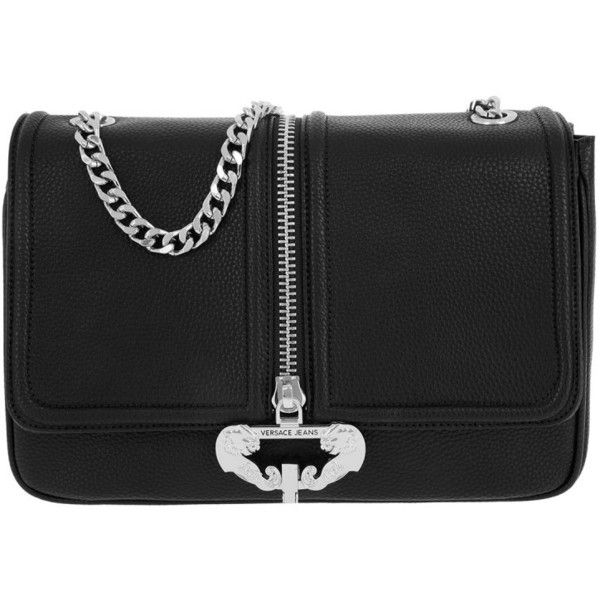 Versace Jeans Shoulder Bag - Crossbody Chain Zipper Nero - in black -... (€170) ❤ liked on Polyvore featuring bags, handbags, shoulder bags, black, shoulder strap purses, crossbody shoulder bag, crossbody chain purse, chain shoulder bag and chain strap shoulder bag