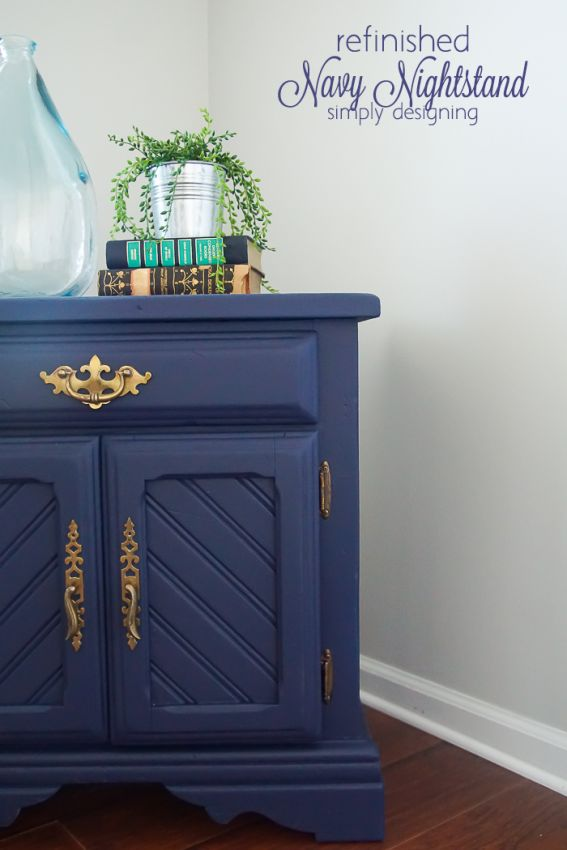 Come and see this transformation of a $14 thrift store find into a beautiful and elegant navy refinished nightstand! I share all the details on my site.