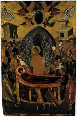 Andreas Ritzos The Dormition of the Virgin 1480-90 Tempera on panel, 85 x 54,5 cm Hellenic Institute of Byzantine and Post-Byzantine Studies, Venice  Andreas Ritzos was a representative of the Cretan School of icon painting in the late fifteenth century.