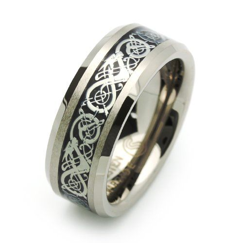8mm Comfort Fit Tungsten Wedding Band Celtic Dragon Enlaid Ring For Men Women Size 7