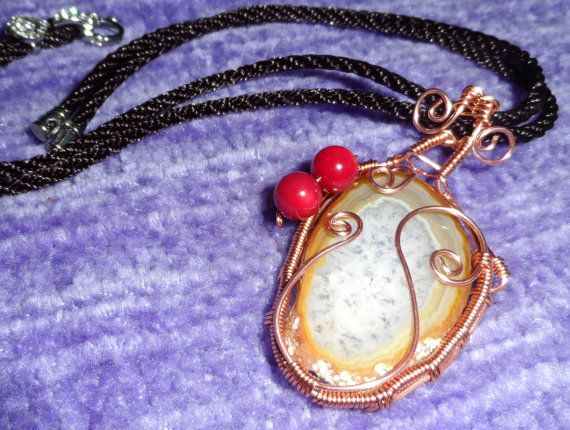 Wire wrapped agate crystal pendant with bamboo by UniqueFantasies