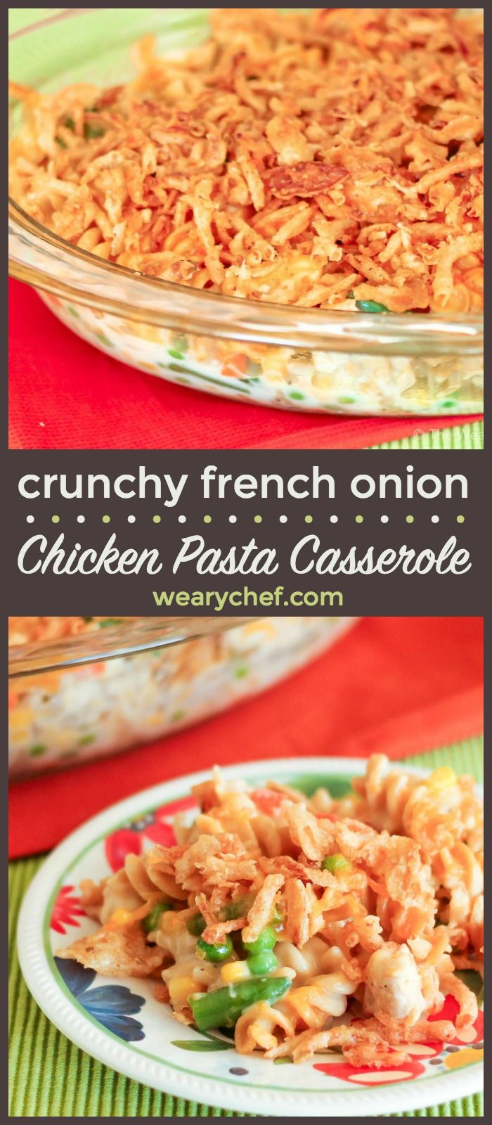 This quick and easy French Onion Chicken Casserole uses pantry staples and is a great recipe for leftover chicken or turkey. It's a perfect comfort food dinner recipe for busy nights!