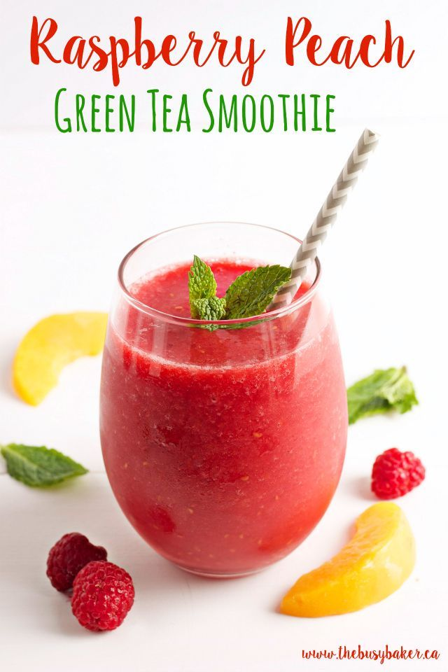 This Raspberry Peach Green Tea Smoothie is my favourite summer drink! It's a refreshing low-calorie treat that's naturally sweetened only with fruit, with a delicious hint of iced green tea! Looking for more refreshing drinks? Try my Dairy-Free Mocha Caramel Frappuccino, or this Sparkling Peach Mango Refresher! Hungry for more? Pin this recipe on Pinterest!...