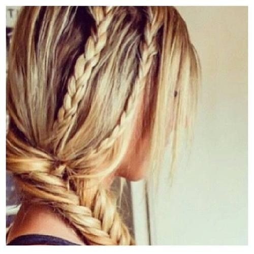 i think this is a really pretty hairstyle! :) two three stranded braids dropping into a fishtail braid