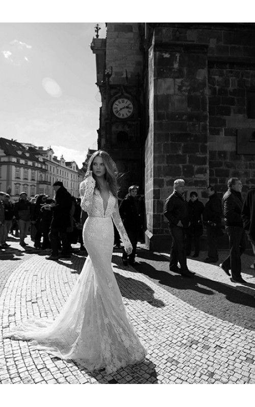 Sheath/Column V-Neck Court Train Lace Wedding Dress With Appliqued Waistband Beaded