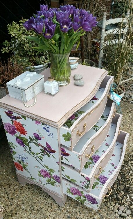 Shabby chic painted chest of drawers in Annie Sloan's Antoinette with pretty wallpaper decoupage,  by Imperfectly Perfect xx