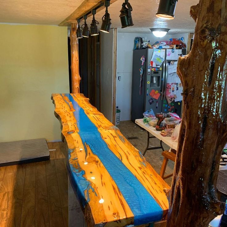 Finished The Bar Counter Top With A River Table Counter Epoxytable Woodworkin Holz Holz Holz Ideen