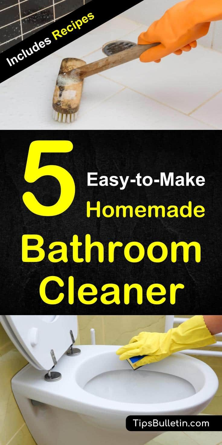 5 Simple Easy To Make Homemade Bathroom Cleaners Bathroom Cleaner Diy Bathroom Cleaner Baking Soda Cleaner